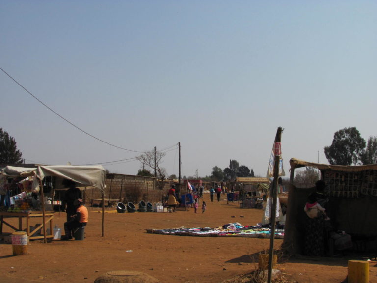 A typical scene in Bekkersdal, hawkers selling goods